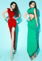 Bossy lady ! 2013 fashion sexy crochet racerback low-high dovetail one-piece dress