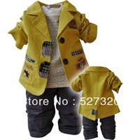 Top selling 2013 Winter children's Clothing Set Cotton baby boy kids children outerwear child overcoat sets Free shipping