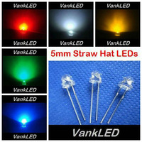 5x100pcs/Color=500pcs New  5mm Straw Hat Ultra Bright Red/Green/Blue/White/Yellow Wide Angle LED Light Lamp