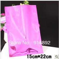 Wholesale 15*22cm Pink aluminum plastic food packaging bags / vacuum bag  /flat pocket bags