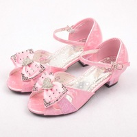 Female high-heeled sandals child princess shoes 2013 female child sandals rhinestone bow open toe sandals