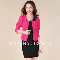 free shipping winter coats and jackets tops women new fashion 2013 Plus size women clothing cardigan blazer coat Piece suit