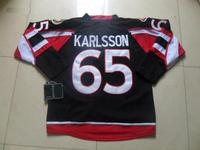 2013 New Ottawa #65 Erik Karlsson Black Ice Hockey Jersey Embroidery logos Cheap Hockey jersey Free Shipping Mix Order
