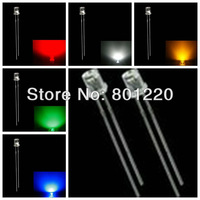 5Valuesx1000pcs/Color=5000pcs 3mm Flat Top Ultra Bright Red/Green/Blue/ White/Yellow LEDs Wide Angle