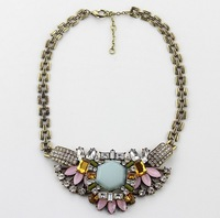 free shipping 2013 hot sale brand fashion vintage chain big gem choker statement necklace length 40cm