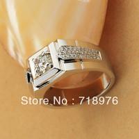 Mens Jewelry 18K White Gold Synthetic Diamond 1.0 Carat  Engagemetn Wedding Band Guard Matching Men Ring