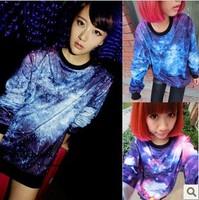 Drop Shipping New 2013 Women Men Galaxy Top Space Printed Galaxy Hoodies Lady Galaxy Sweatshirts Lover Clothes Autumn Winter
