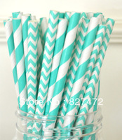 100pcs Turquoise chevron / stripes Straws Biodegradable paper Drinking birthday  wedding event & party decoration
