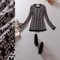 women clothing Fashion women's 2013 print o-neck long-sleeve knitted cashmere sweater 13082707