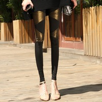 K641 autumn fashion plus size pearl lengthen triangle patchwork ankle length trousers legging