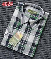 2013 Men plaid casual short-sleeve shirt plus size male casual 100% cotton plaid shirt