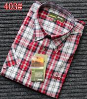 China Summer plus size male short-sleeve plaid shirt male loose casual plaid shirt