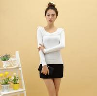 2013 autumn slim elastic laciness with diamond knitted basic shirt