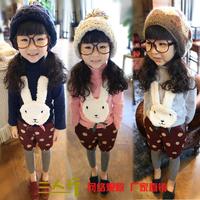 Free shipping Child 2013 onrabbit female child fashion turtleneck basic shirt
