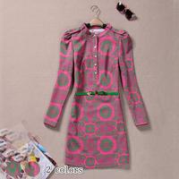 2014 spring and autumn women's elegant c1056 gentlewomen slim elegant slim waist small stand collar long-sleeve dress