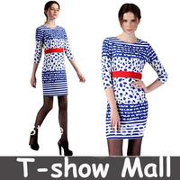 Free shipping!High quality European Fashion Spring-Winter New designer Elegant 7points sleeve women Casual formal Dot dress SY04