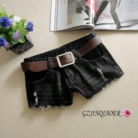 2013 autumn and winter black denim shorts dark color hole female boot cut jeans low-waist shorts