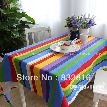 Free Shipping!! 100% Cotton Colorful Stripe Printed Table Cloth Kitchen Rectangle Tablecloths Fabric