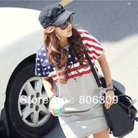 Hot Sale Lady Casual Women Loose USA Flag Dress Tops Short Sleeve White/Gray 1610