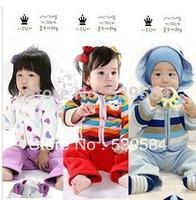 SHT163 2013 New Winter Baby Suit Children's Clothes Boys Girls cartoon thicker fleece warm Kids Striped Heart dog Jacket+Pants