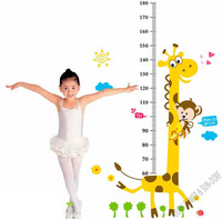 Cute Monkey Giraffe Height Chart Wall stickers Children Kids Vinyl Decals lovely Home Room Decoration Freeship 60x90cm Removable