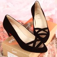 women clothing Fashion sheepskin cutout women's pointed toe shoes red sole shoes spring shoes single shoes