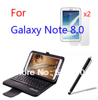 Wireless Bluetooth Removeable Keyboard Folio Stand Leather Case Cover For Samsung Galaxy Note 8.0 N5100 N5110 +2x Films +Stylus