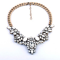 Fashion Brand White Crystal Flower Statement Chokers Necklace Factory Free Shipping