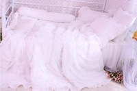 4pc princess bedding lace bed skirt romantic bedspread girl bed cover covelet