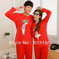 Sleepwear trend personality girl male women's high quality cotton twinset lounge