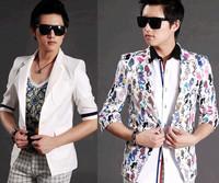 Suit male slim 7 quarter sleeve outerwear suit print pattern three quarter sleeve pure white linen blazer