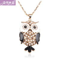 FREE SHIPPING Hot Sale fashion sweater accessories rhinestone bohemia owl long necklace personalized all-match female necklace