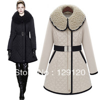 2013 on sale  fashion medium-long black-and-white outerwear slim winter wadded jacket