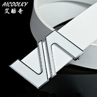 Double v fashion belt tidal current men genuine leather waist belt all-match letter white cowhide belt men