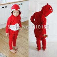 Wholesale 5 sets/lot baby boys girls fox costume for kids fashion sports suits hoodies+pants 2pcs clothing set kids tracksuits