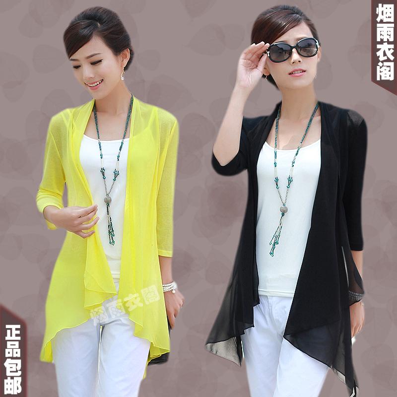plus size mm quinquagenário verão mulheres tudo- jogo casual chiffon roupas de proteção solar protetor solar camisa meia manga feminino(China (Mainland))