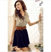 Free shipping new summer dresses Women's temperament melting dot waisting dress Free belt
