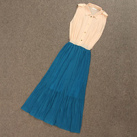 Anj elegant chiffon pleated skirt one-piece dress full dress