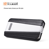 Icarer genuine leather case for iphone5/5S,Top layer leather mobile phone cover,flip case with pure hand made,free shipping