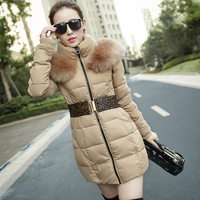 Large fur collar with a hood leopard print belt medium-long thermal wadded jacket