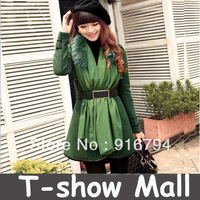 High quality Autumn-winter new arrived Fashion long design women's winter princess with a hood scarf belt coat/outwear SY10
