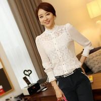 2015 plus size slim tops embroidery floral lace crochet blusas femininas chiffon blouse long-sleeve basic white shirt camisas