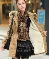Warm Faux Fur Fleece Outerwear Coats Winter New 2013 Women Designer Thickening Coat Hoodied Khaki Parka Plus size XXL AW13J0422