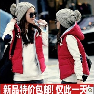 Женский жилет 2013 spring and autumn women's fashion casual zip hooded vest all-match outerwear autumn and winter cotton vest female