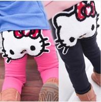 Wholesale 5pcs/lot baby girls lovely cartoon cute hello kitty pants,winter trousers thickening fleece leggings for children