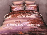 NEW Beautiful 4PC 100% Cotton Comforter Duvet Doona Cover Sets FULL / QUEEN / KING SIZE bedding set 4pc animal white swan