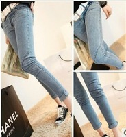 Free shipping 3018 2013 fashion excellent lines long skinny jeans ankle length trousers