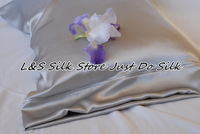 Free shipping 100% silk charmuse mulberry housewife pillowcase pillow case cover sliver grey stardend queen size ls1503-1