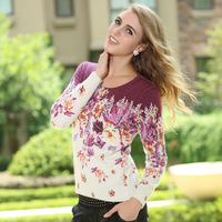 Autumn Women sweater outerwear female autumn and winter basic shirt loose pullover women's print cashmere sweater