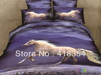 NEW Beautiful 4PC 100% Cotton Comforter Duvet Doona Cover Sets FULL / QUEEN / KING SIZE bedding set 4pc animal horse blue white